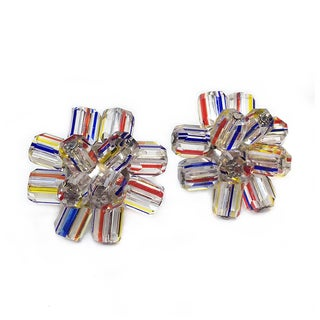 Japanese Striped Glass Cluster Earrings