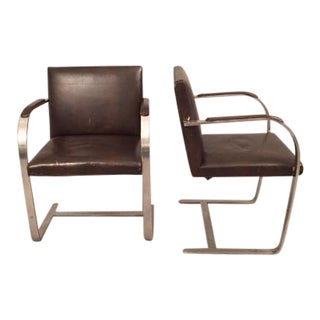 Mies Van Der Rohe for Knoll Brno Flat-Bar Chairs - A Pair