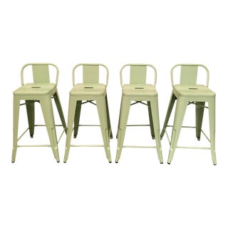 Tolix Style Mint Green Counter Stools- Set of 4