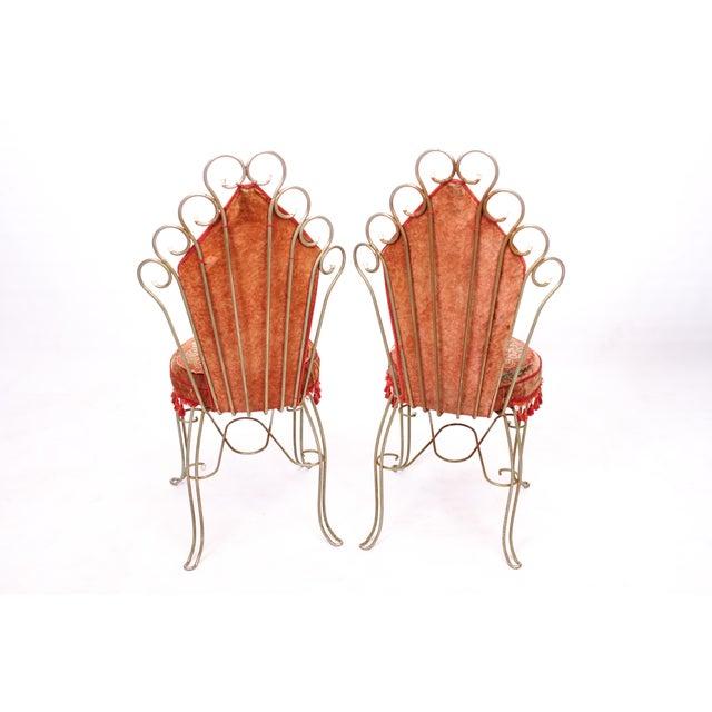 Scrolled Metal Bohemian Vanity Chairs - Pair - Image 4 of 5