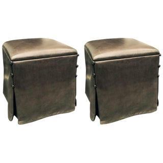 J. Robert Scott Soft Lamb Skin Ottomans - A Pair