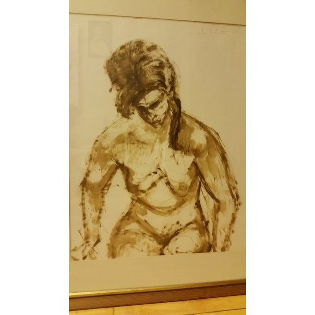 Image of 1963 Mid-Century Watercolor Nude Painting