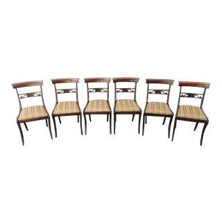 Set of Six Early 19th C English Regency Mahogany Dining Chairs