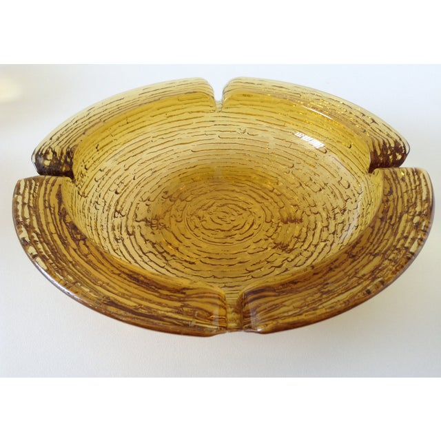 Amber Waterfall Glass Ashtray Catchall Dish - Image 2 of 3