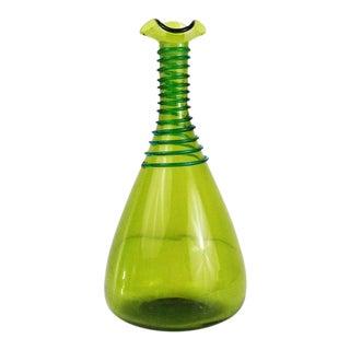 Handblown Green Glass Decanter