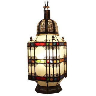 Moroccan Cut Metal Colorful Lantern
