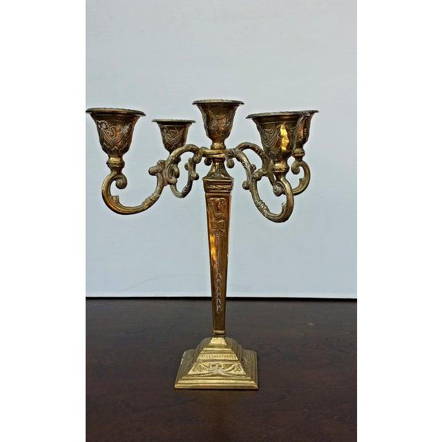 Image of Vintage Ornate Brass Candelabra