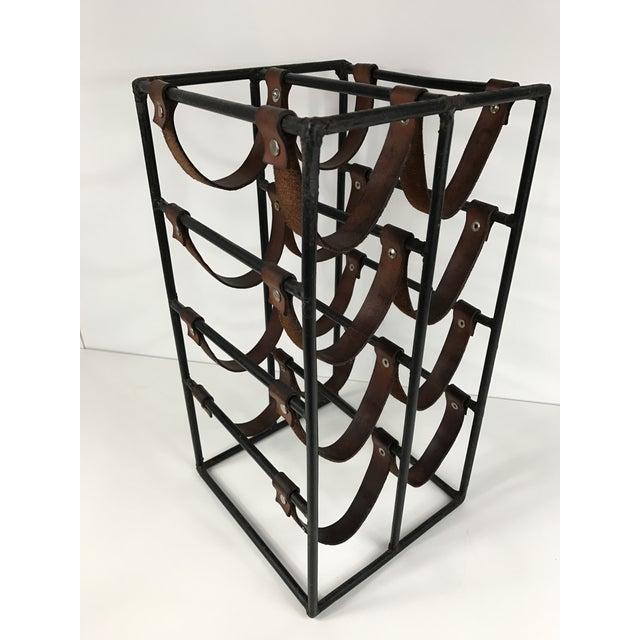 Arthur Umanoff Wrought Iron & Leather Wine Rack - Image 2 of 5