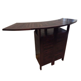Brown Teak Bar Counter With Storage Cabinet