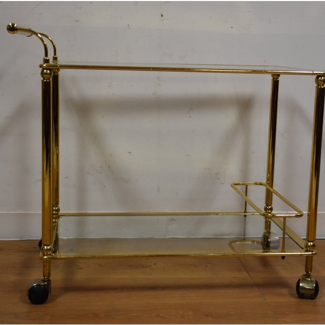 Hollywood Regency Brass Bar Cart - Image 4 of 11