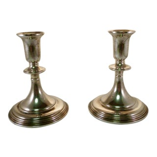 18th C. Style Sterling Silver Candlesticks - A Pair
