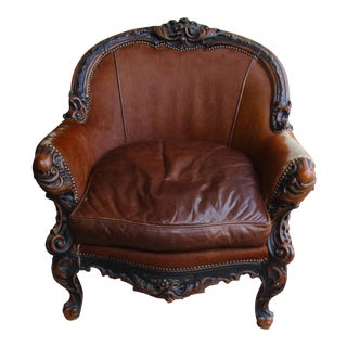 Rustic Lucchese Leather Club Chair