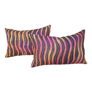 Hand Woven Tiger Stripe Pillows - a Pair
