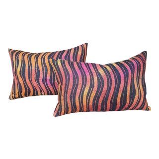 Hand Woven Tiger Stripe Pillows - a Pair