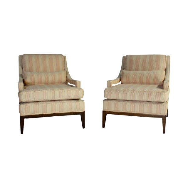 Image of Upholstered Open-Arm Lounge Chairs - A Pair