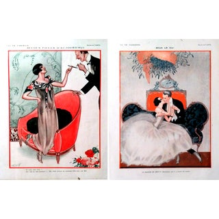 "1923 La Vie Parisienne ""Courting Couples"" Prints - Pair"