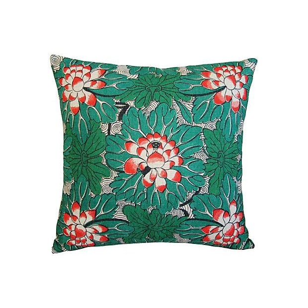Custom Chinese Lotus Blossom Linen Pillows - Pair - Image 3 of 6