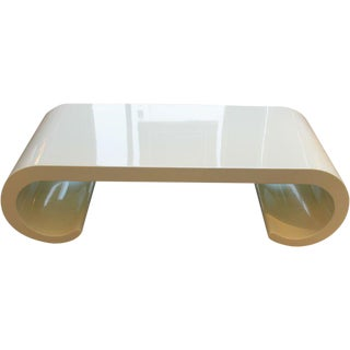 Soft Yellow Coffee Table in the Manner of Karl Springer