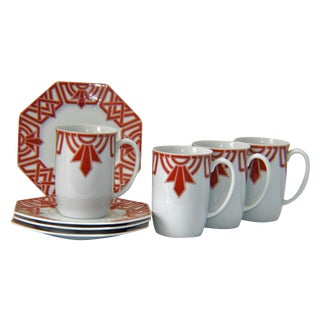Fitz & Floyd The Ritz Red Mug & Saucers - Set of 4