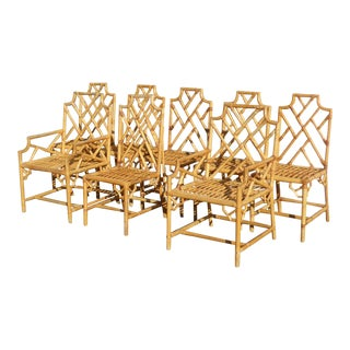 Vintage Bamboo Rattan Dining Chairs - Set of 8