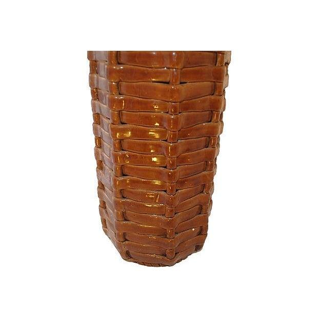 Image of Spanish Cearmic Basketweave Umbrella Stand