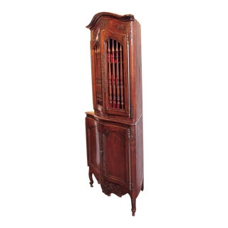 19th Century French Louis XV Walnut Carved Corner Cabinet