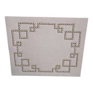 Greek Key MIX Linen, Nail Head & Cork Board Wall Piece