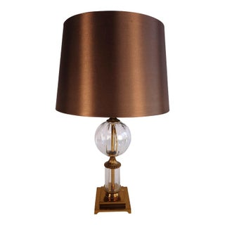 Glass and Brass Table Lamp