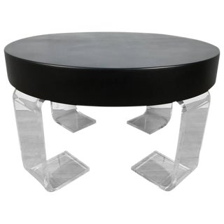 Black Lacquer and Lucite Table in the Manner of Kagan