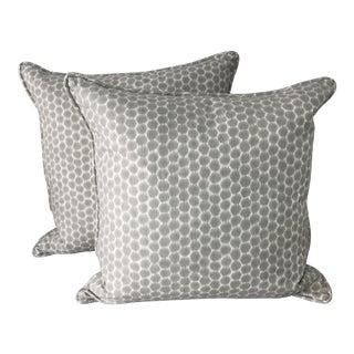 Kravet Gray Basketweave Pillows - A Pair
