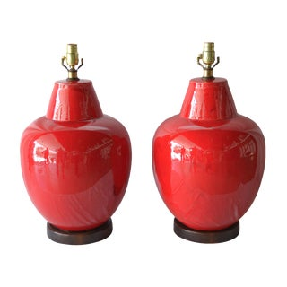1970's Red Glazed Ceramic Lamps - A Pair