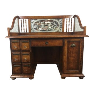 Victorian Style Carved and Veneered Wood Apothecary Desk