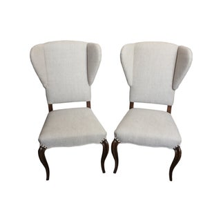 White Armless Wingback Dining Chairs - A Pair