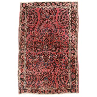 "Antique Persian Sarouk Rug - 3'4"" X 5'"