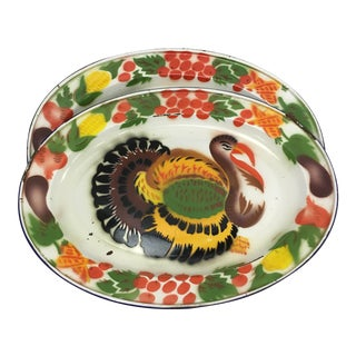 Enameled Vintage Turkey Trays, A Pair
