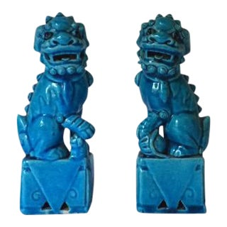 Turquoise Small Foo Dog Statues - A Pair