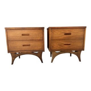 Leather Top Sculptural Nightstands - A Pair