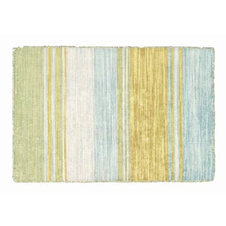 Yellow, Blue & Green Striped Dhurrie - 2' x 3'