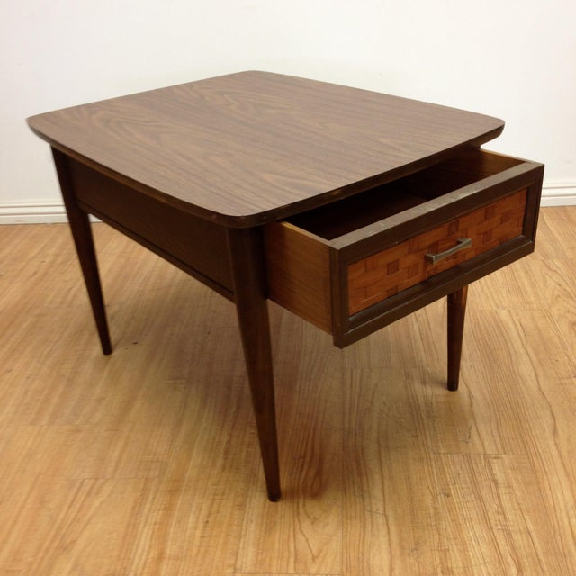 Mid-Century Woven Front & Formica End Table - Image 3 of 7