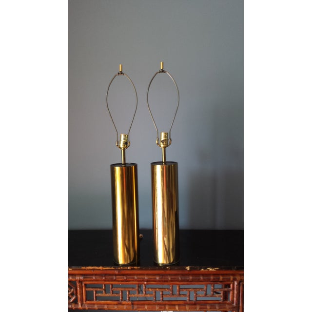 Brass Style Cylinder Table Lamps After Kovacs - 2 - Image 2 of 7