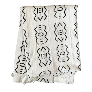African White Mud Cloth Throw