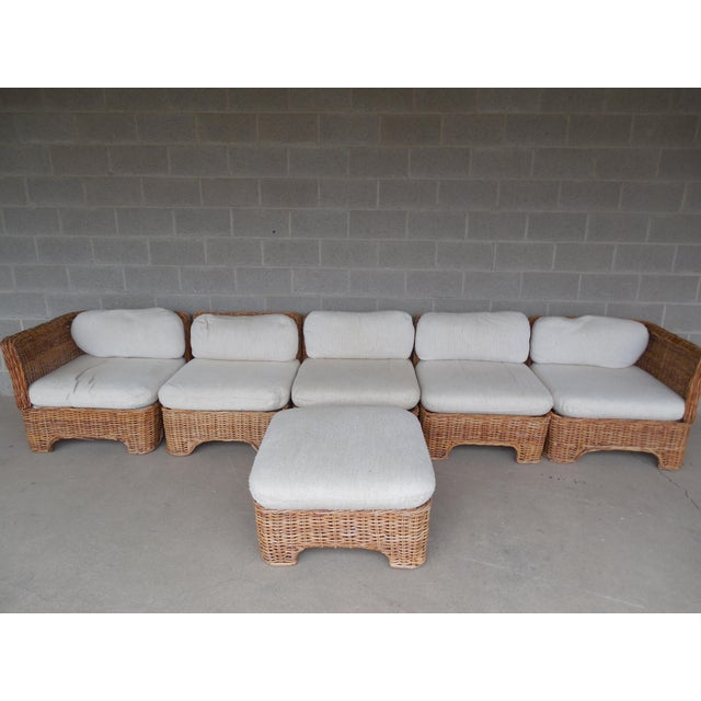 Image of Vintage Wicker Sectional Patio Seating Set - Set of 6