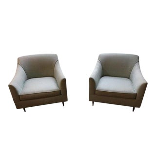 Mid-Century Upholstered Club Chairs - A Pair
