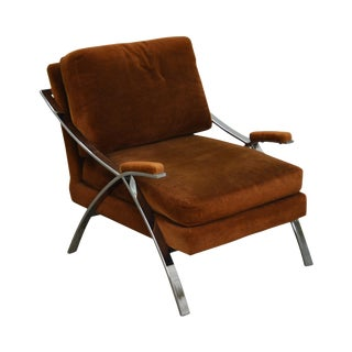 Carsons Mid Century Modern Chrome Frame Lounge Chair