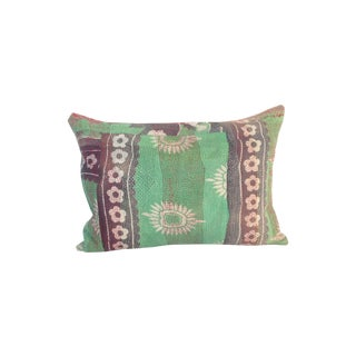 Vintage Block Printed Kantha Quilt Pillow