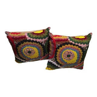 Colorful Beaded Decorative Pillows - A Pair