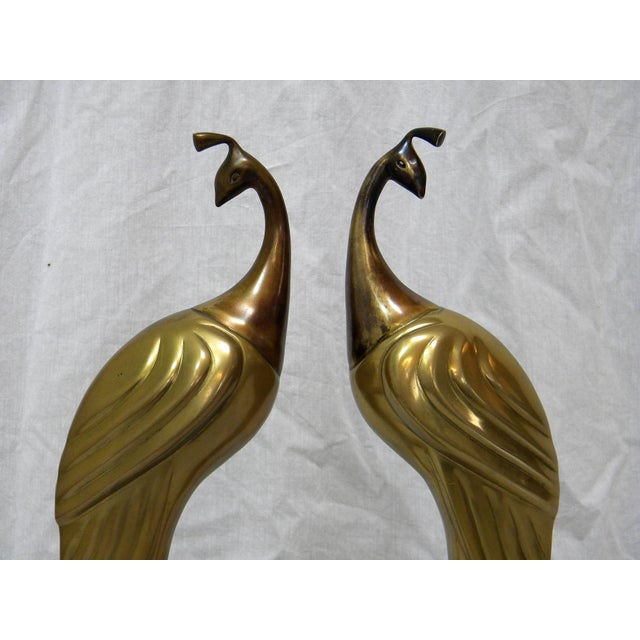 Image of Circa 1980s Brass Peacock Figures - A Pair