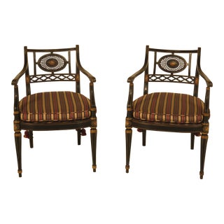 Smith & Watson Regency Decorated Armchairs - A Pair