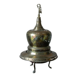 Vintage Moroccan Open Work Brass Table Lamp