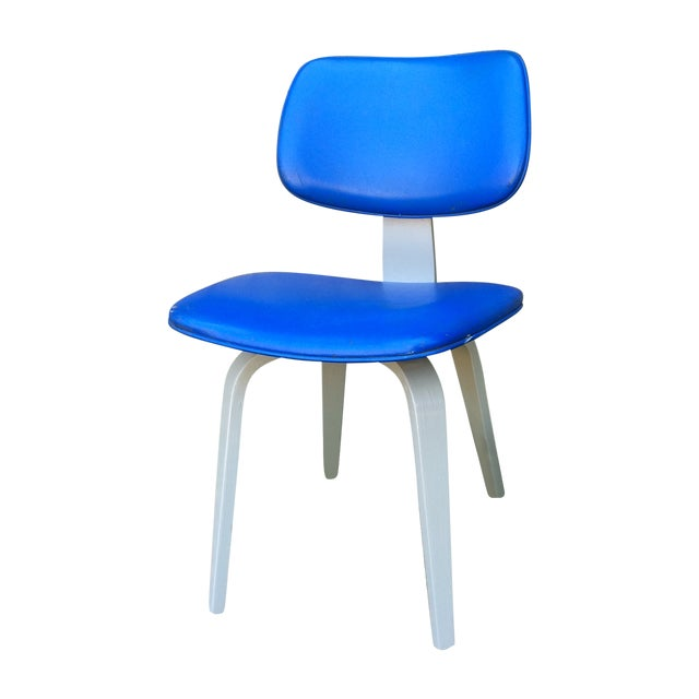 Blue Vinyl and Light Grey Thonet Side Chair - Image 1 of 5